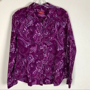 Talbots Paisley Button Down Shirt - Size 12